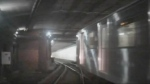 Two TTC subway trains narrowly avoid a collision in this still image from video captured from the front of the one train on June 12, 2020.