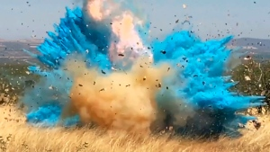 This April 23, 2017, file photo from video provided by the U.S. Forest Service shows a gender reveal event in the Santa Rita Mountain's foothills, southeast of Tucson, Ariz. (U.S. Forest Service via AP, File)