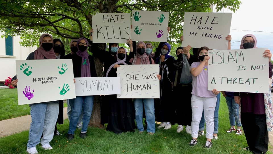 Classmates of Yumna Salman are shown at a vigil to remember the victims of a hate-motivated attack in London. (Krista Sharpe)