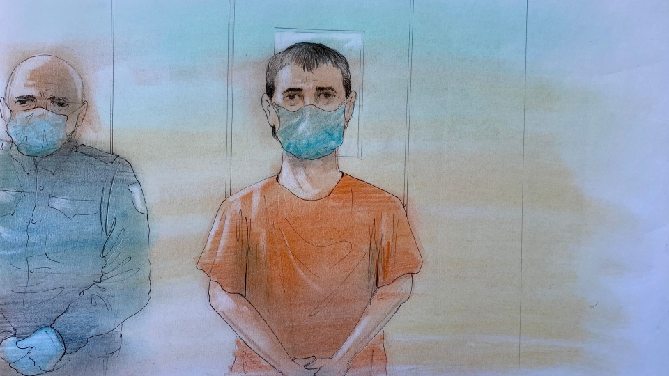 Nathaniel Veltman,20, is pictured in this sketch from his virtual appearance in court on June 6.