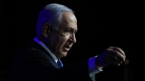 Israeli Prime Minister Benjamin Netanyahu speaks at a ceremony showing appreciation to the health care system for their contribution to the fight against the coronavirus in Jerusalem, Sunday, June 6, 2021. (AP Photo/Ariel Schalit)