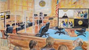 """This artists sketch depicts the court proceedings for the wife of Mexican drug kingpin Joaquin """"El Chapo"""", Emma Coronel Aispuro, during a court hearing at the U.S. District Courthouse in Washington., Thursday, June 10, 2021. (Dana Verkouteren via AP)"""