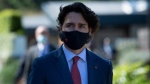 Canada's Prime Minister Justin Trudeau arrives for a working session at the G7 summit in Cornwall, England, Saturday June 12, 2021. (Brendan Smialowski/Pool via AP)