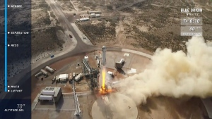 In this Dec. 11, 2019 image from video provided by Blue Origin, the New Shepard rocket takes off near Van Horn, Texas, on the sixth successful launch and landing of the same rocket. (Blue Origin via AP)