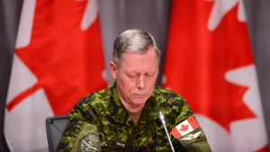 Chief of Defence Staff Jonathan Vance takes part in a press conference on Parliament Hill in Ottawa on Thursday, April 30, 2020. Prime Minister Justin Trudeau says six people were aboard the Canadian Forces helicopter that crashed off Greece during a training exercise. THE CANADIAN PRESS/Sean Kilpatrick