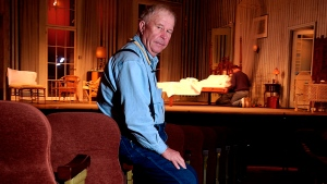 """FILE - In this Oct. 17, 2003, file photo, actor Ned Beatty poses at New York's Music Box Theatre where he plays the role of Big Daddy in a new production of Tennessee Williams' """"Cat on a Hot Tin Roof."""" Beatty, the indelible character actor whose first film role, as a genial vacationer brutally raped by a backwoodsman in 1972's """"Deliverance,"""" launched him on a long, prolific and accomplished career, died Sunday, June 13, 2021. He was 83. (AP Photo/Gino Domenico, File)"""