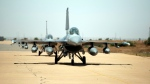 American F16 fighter jets land in an airbase for the African Lion military exercise, in Ben Guerir, Morocco, Monday, June 14, 2021. With more than 7,000 participants from nine nations and NATO, African Lion is U.S. Africa Command's largest exercise. (AP Photo/Mosa'ab Elshamy)