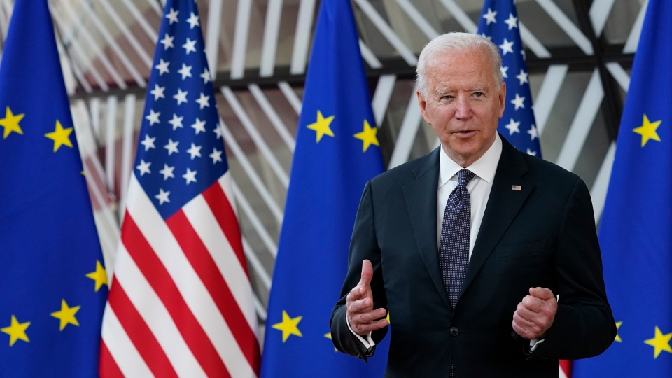 President Joe Biden speaks after arriving for the United States-European Union Summit at the European Council in Brussels, Tuesday, June 15, 2021. (AP Photo/Patrick Semansky)