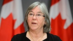 Minister of Seniors Deb Schulte speaks during a press conference on Parliament Hill during the COVID-19 pandemic in Ottawa on Thursday, June 4, 2020. THE CANADIAN PRESS/Sean Kilpatrick