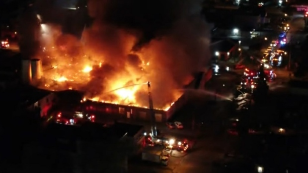 Flames gut the interior of a bakery in Etobicoke on June 15, 2021. (CP24)