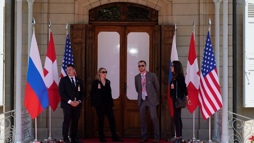 The venue where President Joe Biden will meet Russian President Vladimir Putin, Wednesday, June 16, 2021, in Geneva, Switzerland. (AP Photo/Patrick Semansky)