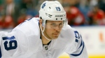 FILE - In this Jan. 12, 2020, file photo, Toronto Maple Leafs center Jason Spezza is shown during the first period of an NHL hockey game against the Florida Panthers, in Sunrise, Fla. (AP Photo/Wilfredo Lee, File)