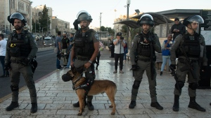 """Israeli police including a K-9 team deploy at Palestinian protest at the Damascus Gate to the Old City of Jerusalem Thursday, June 17, 2021 against incendiary chants used by ultranationalist Israelis at their """"Flags March"""" at the same site on Tuesday. (AP Photo/Maya Alleruzzo)"""