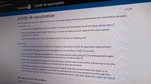 Ontario's vaccine booking homepage is seen in this undated photo. (CP24)