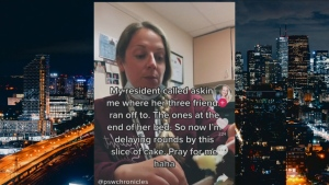 Videos posted on Tiktok appear to show a personal support worker mocking long-term care residents. (TikTok)