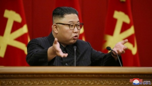 In this photo provided by the North Korean government, North Korean leader Kim Jong Un speaks during a Workers' Party meeting in Pyongyang, North Korea, Friday, June 18, 2021.Independent journalists were not given access to cover the event depicted in this image distributed by the North Korean government. The content of this image is as provided and cannot be independently verified. (Korean Central News Agency/Korea News Service via AP)