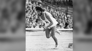 FILE - In this June 20, 1961, file photo, Milkha Singh, the famed Indian middle-distance runner, starts the 400 metres race in the Janusz Kusocinski Memorial Track and Field MeetinG, in Warsaw, Poland. Singh, one of India's first sport superstars and ace sprinter who overcame a childhood tragedy to become the country's most celebrated athlete, has died. He was 91. Singh's family said he died late Friday, June 18, 2021, of complications from COVID-19 in a hospital in the northern city of Chandigarh. (AP Photo/File)