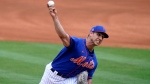 New York Mets starting pitcher Jacob Barnes throws during the first inning of a spring training baseball game against the Houston Astros, Saturday, March 27, 2021, in Port St. Lucie, Fla. (AP Photo/Lynne Sladky