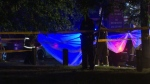 Police place tarps over a shooting scene on June 21, 2021. (CP24)