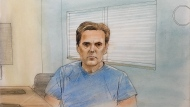 Paul Bernardo is shown in this courtroom sketch during Ontario court proceedings via video link in Napanee, Ont., on June 22, 2021. THE CANADIAN PRESS/Greg Banning(CTV News Toronto/John Mantha)