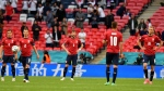 Czech Republic players react after England's Raheem Sterling scored the opening goal during the Euro 2020 soccer championship group D match between the Czech Republic and England at Wembley stadium in London, Tuesday, June 22, 2021. (Justin Tallis, Pool photo via AP)