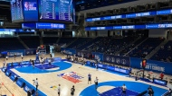 Prospects for the 2021 NBA Draft participate in the Draft Combine at Wintrust Arena Tuesday, June 22, 2021, in Chicago. (AP Photo/Charles Rex Arbogast)