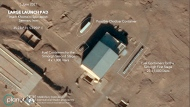 This satellite image provided by Planet Labs Inc. that has been annotated by experts at the James Martin Center for Nonproliferation Studies at Middlebury Institute of International Studies shows preparation at the Imam Khomeini Spaceport in Iran's Semnan province on  June 1, 2021 before what experts believe was the launch of a satellite-carrying rocket. Iran likely conducted a failed launch of a satellite-carrying rocket in recent days and now appears to be preparing to try again, their latest effort to advance their space program amid tensions with the West over its tattered nuclear deal. (Planet Labs Inc., James Martin Center for Nonproliferation Studies at Middlebury Institute of International Studies via AP)