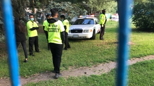 Police and security are seen at Trinity Bellwoods Park on June 23, 2021. (Craig Wadman/ CTV News Toronto)