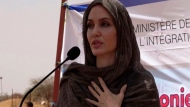 In this image taken from video, Special Envoy to the United Nations High Commissioner for Refugees Angelie Jolie speaks at the Malian refugee camp in Goudebo, Burkina Faso, Sunday June 20, 2021, to mark World Refugee day on Sunday. (AP Photo)