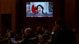 Prime Minister Justin Trudeau rises virtually during question period in the House of Commons on Parliament Hill in Ottawa on Tuesday, June 22, 2021. THE CANADIAN PRESS/Sean Kilpatrick