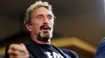In this Wednesday, Sept. 9, 2015, file photo, John McAfee announces his candidacy for president in Opelika, Ala. McAfee, the outlandish security software pioneer who tried to live life as a hedonistic outsider while running from a host of legal troubles, was found dead in his jail cell near Barcelona , Spain, on Wednesday, June 23, 2021. (Todd J. Van Emst/Opelika-Auburn News via AP, File)