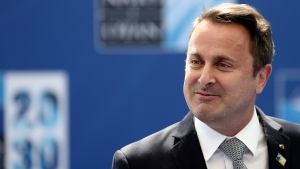 Luxembourg's Prime Minister Xavier Bettel arrives for a NATO summit at NATO headquarters in Brussels, Monday, June 14, 2021. (Kenzo Tribouillard, Pool via AP)