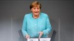 German Chancellor Angela Merkel delivers her speech ahead of a EU summit at the German parliament Bundestag in Berlin, Germany, Thursday, June 24, 2021. (AP Photo/Markus Schreiber)
