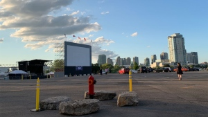 A drive-in movie theatre is pictured at Ontario Place July 23, 2020. (Joshua Freeman /CP24)
