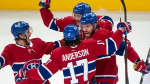 Montreal Canadiens defenceman Shea Weber (6) celebrates with teammates after scoring the first goal against the Vegas Golden Knights during first period NHL Stanley Cup playoff hockey semifinal action Thursday, June 24, 2021 in Montreal. THE CANADIAN PRESS/Ryan Remiorz