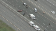 The eastbound express lanes of Highway 401 are closed at Port Union Road due to a fatal crash.