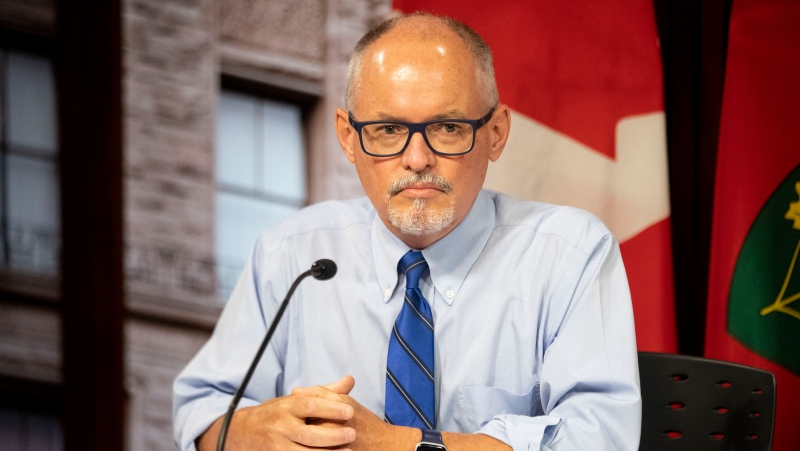 Dr. Kieran Moore attends a press briefing at Queens Park in Toronto on Thursday June 24, 2021. THE CANADIAN PRESS/Chris Young