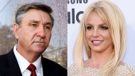 Jamie Spears, father of singer Britney Spears, leaves the Stanley Mosk Courthouse in Los Angeles on Oct. 24, 2012, left, and Britney Spears arrives at the Billboard Music Awards in Las Vegas on May 17, 2015. (AP Photo)