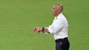 Toronto FC coach Chris Armas calls out instructions during the first half of the team's MLS soccer match against Orlando City, Saturday, June 19, 2021, in Orlando, Fla. (AP Photo/Phelan M. Ebenhack)