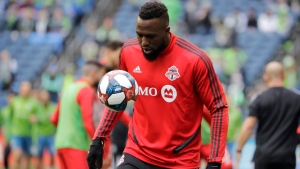 Toronto FC's Jozy Altidore warms up before the MLS Cup championship soccer match against the Seattle Sounders, Sunday, Nov. 10, 2019, in Seattle. THE CANADIAN PRESS/AP/Elaine Thompson