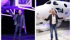 This combination of 2019 and 2016 file photos shows Jeff Bezos with a model of Blue Origin's Blue Moon lunar lander in Washington, left, and Richard Branson with Virgin Galactic's SpaceShipTwo space tourism rocket in Mojave, Calif. The two billionaires are putting everything on the line in July 2021 to ride their own rockets into space. (AP Photo/Patrick Semansky, Mark J. Terrill)