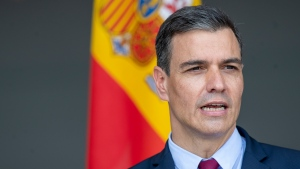 Spain's Prime Minister Pedro Sanchez answers questions during a meeting with the press at the Siauliai military air force base some 220 kms (136,7 miles) east of the capital Vilnius, Lithuania, Thursday, July 8, 2021. (AP Photo/Mindaugas Kulbis)