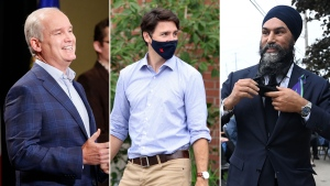 From left: Conservative Leader Erin O'Toole, Liberal Leader Justin Trudeau, and NDP Leader Jagmeet Singh.
