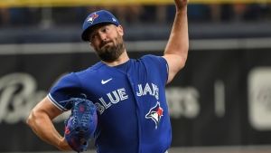 Toronto Blue Jays starter Robbie Ray pitches against the Tampa Bay Rays during the sixth inning of a baseball game Sunday, July 11, 2021, in St. Petersburg, Fla.(AP Photo/Steve Nesius)