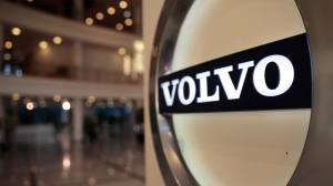 This Feb. 6, 2020, file photo shows the Volvo logo in the lobby of the Volvo corporate headquarters in Brussels. (AP Photo/Virginia Mayo, File)