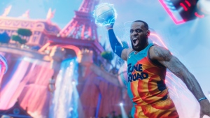 This image released by Warner Bros. Entertainment shows LeBron James in a scene from 'Space Jam: A New Legacy.' (Warner Bros. Entertainment via AP)