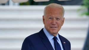 President Joe Biden walks to Marine One on the South Lawn of the White House in Washington, Friday, July 16, 2021, to spend the weekend at Camp David. (AP Photo/Susan Walsh)
