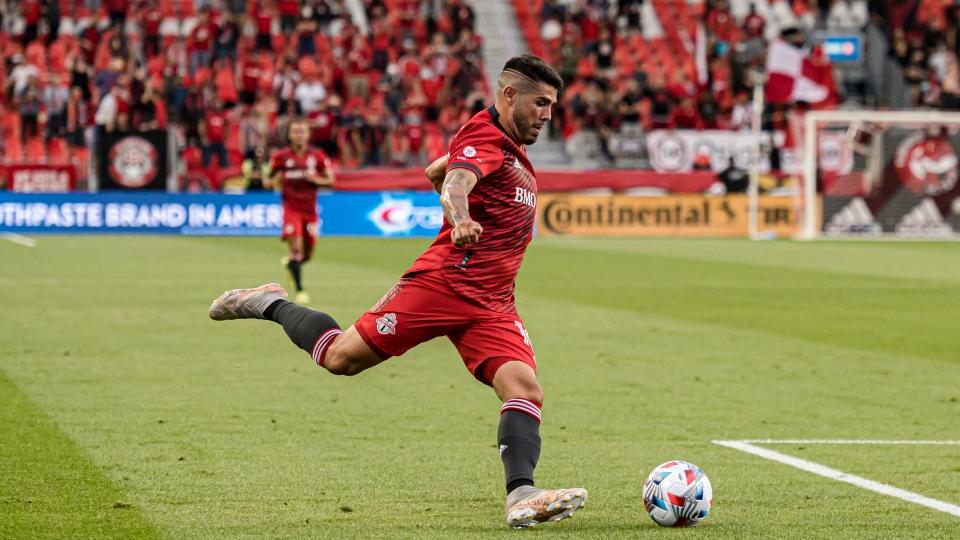 Toronto FC midfielder Alejandro Pozuelo (10) shoots during first half MLS soccer action against Orlando City SC, in Toronto, Saturday, July 17, 2021. THE CANADIAN PRESS/Chris Katsarov