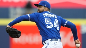 Toronto Blue Jays relief pitcher Joel Payamps (54) throws during the ninth inning of the baseball game against the Baltimore Orioles in Buffalo, N.Y., Saturday, June 26, 2021. (AP Photo/Joshua Bessex)