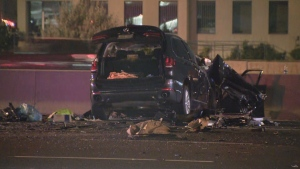 Three vehicles collided on Highway 400, leaving one woman with serious injuries.